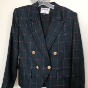 Multi-colored checked wool blend vintage suit